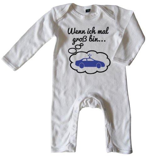 Mikalino Baby Schlafanzug Wenn ich mal groß Bin. Polizei Schwarz-blau Print, Größe_Farbe:6-12 Monate;Farbe:Weiss