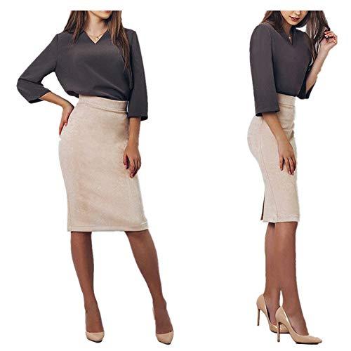 Morbuy Falda Mujer Elástica Cintura Alta hasta La Rodilla Colegiala Casual Fiesta Boda Elástica Verano Fashion Midi Faldas de Elegante Básica Patinador Multifuncional