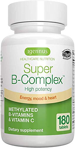 Super B-Complex - High Strength B Vitamins with folate, B6 & B12 Plus Vitamin C, 360 Tablets