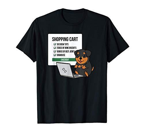 ショッピングカートロットワイラー犬 Tシャツ