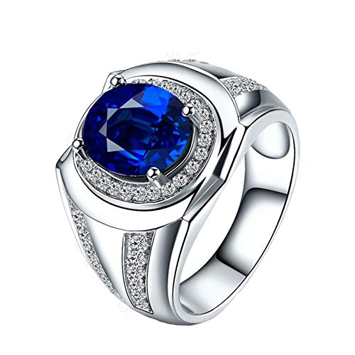 Ubestlove White Gold Ring For Men 70Th Birthday Gifts For Women Oval Ring Sapphire 1.4Ct L 1/2