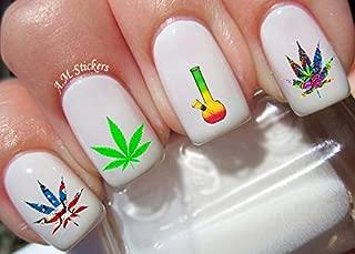 Marijuana Water Nail Art Transfers Stickers Decals - Set of 40