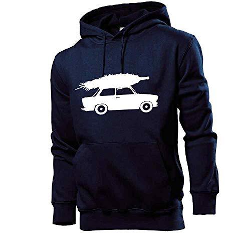 Generisch Trabant mit Weihnachtsbaum Männer Hoodie Sweatshirt Navy L - shirt84.de