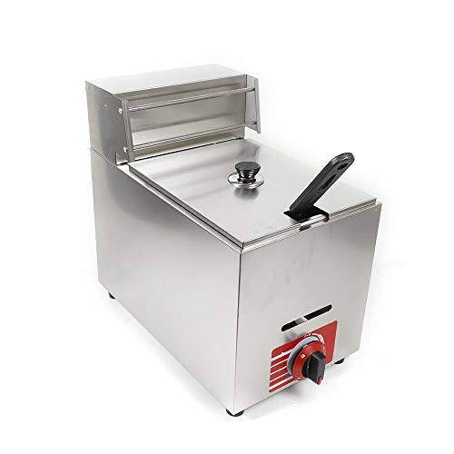 10L Commercial Deep Fryer Propane Heating Deep Fryer Countertop Gas Fry Pot Stainless Steel Deep Fryers Precise Temperature Control Deep Fryer with Basket for Snack Foods Fried Chicken French Fries