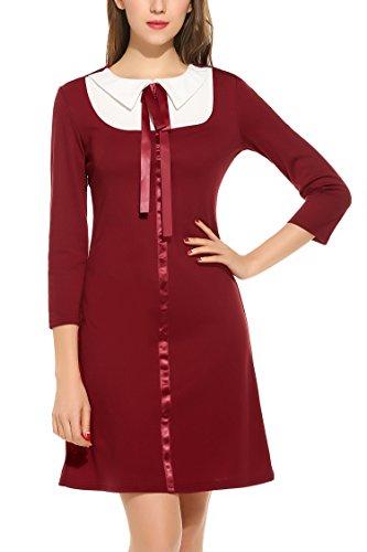 Zeagoo Damen 3/4 Ärmel Rundhals 60s Vintage Kleid Rockabilly Festliche Kleider Freizeitkleid Weinrot - 2