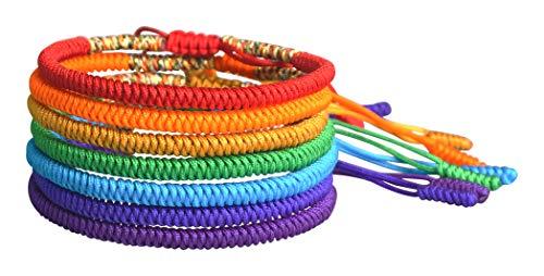 7 Chakra Tibetan Buddhist Monk Handmade Lucky Knot Rope Bracelets (Set of 7)