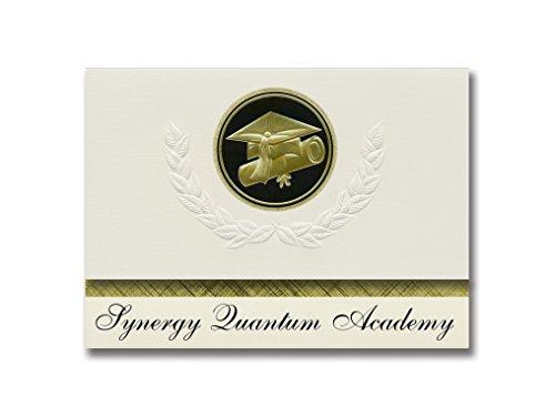 Signature Announcements Synergy Quantum Academy (Los Angeles, CA) Graduation Announcements Presidential Style, Elite Paket mit 25 Cap & Diplom-Siegel Schwarz & Gold