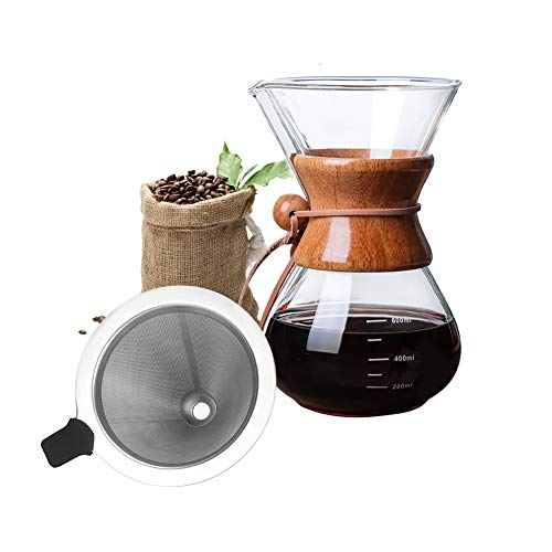 Bestcool Pour Coffee Maker, 400ml Manual Coffee Dripper Brewer with Stainless Steel Filter Borosilicate Glass Carafe with Real Wood Sleeve - No Paper Filters Needed