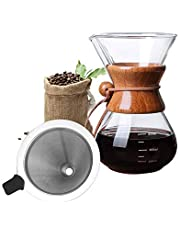 Bestcool Pour Coffee Maker, 400ml handmatige koffie Dripper Brewer met roestvrij staal Filter borosilicaat glas karaf met echte houten mouw - geen papieren filters nodig