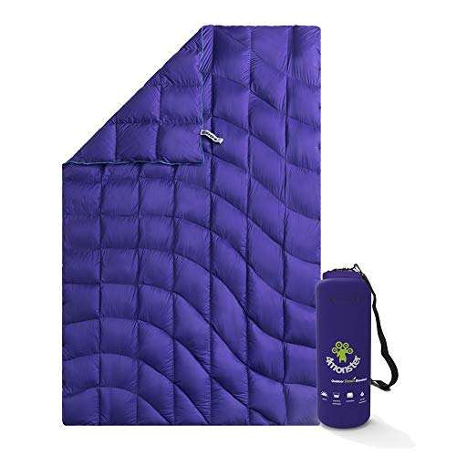 4Monster Down Blanket lightweight, Compact Outdoor Camping Blanket Super Warm, Waterproof Packable Blanket for Travel, Picnics, Camping, Hiking (Wave-purple, S: (127 * 178 cm))