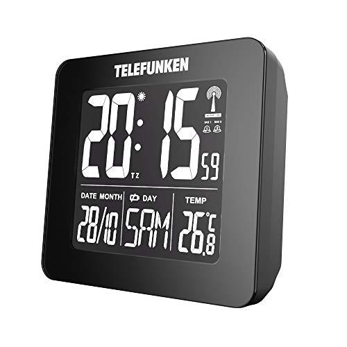 TELEFUNKEN FUX-260-HRB (B) - Despertador digital (pantalla LCD negativa, sin consumo de batería, con cable USB, indicador de temperatura y calendario automático), color negro