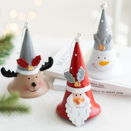 QZENENE 3 campanas de Navidad para árbol de Navidad, 5.5 pulgadas, campana mental colgante de Navidad con muñeco de nieve de Papá Noel pintado a mano para decoración colgante de árbol de Navidad