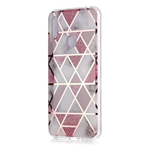 Fatcatparadise Cover per Huawei Y6 2019 / Honor 8A [con Pellicola in Vetro Temperato], [Marmo] TPU Morbido Silicone Bumper Cover [Ultra Sottile] Antiurto Protettiva Case(Rosa)