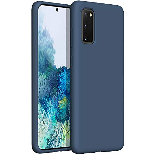 YATWIN Compatible avec Coque Samsung Galaxy S20 6,2'', Samsung Galaxy S20 Couqe Silicone Liquide, Toucher Confortable, Doublé de Microfibre, Structure à 3 Couches, Bleu Nuit
