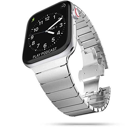 Tech-Protect Correa para reloj de pulsera de Linkband – Correa de repuesto de metal   Compatible con Apple Watch Series 2/3/4/5/6/SE 42/44 mm   Plata