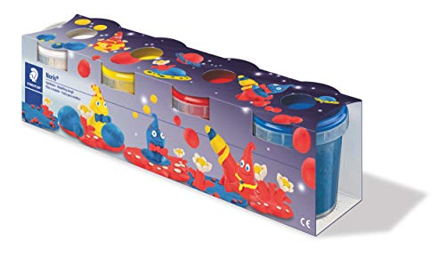 STAEDTLER Spielknete Noris, Basisfarben, besonders weich und einfach zu kneten, klebt nicht, Spielknete mit 4 Töpfchen, 8134 01