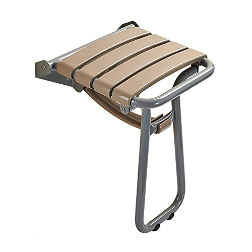 Folding Chairs Taburete de Pared para Inodoro, Taburete Plegable de baño, Asiento Antideslizante de baño, Silla Plegable de Metal de Alto Carga (Color : Gray)