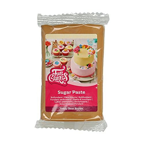 FunCakes Pasta di Zucchero Teddy Bear Brown: facile da usare, liscia, flessibile, morbida e pieghevole, perfetta per decorare torte, halal, kosher e senza glutine. 250 gr