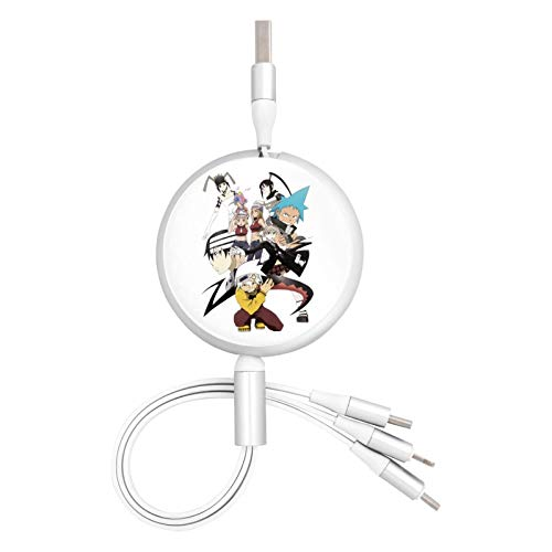 Anime Soul Eater & Maka Albarn 3 in 1 Retractable Multiple Charging Cable 3.0a Fast Charger Cord with Phone/Type C/Micro USB Charge Port Adapter Compatible with Cell Phones Tablets and More