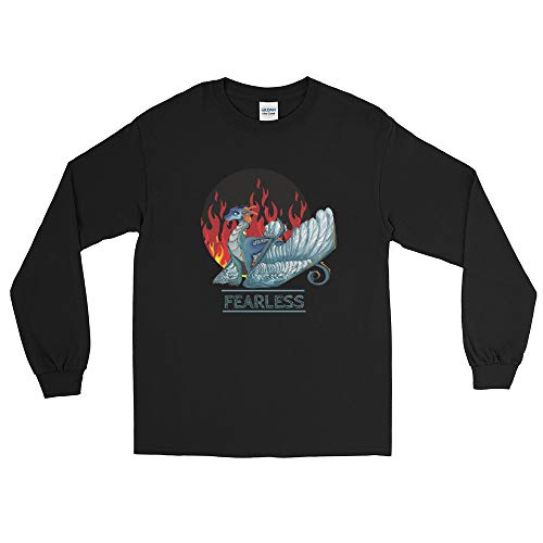 Dragon-Fearless Unisex Long-Sleeve Shirt - White and Blue Feather Wings Dragon_for Dragons and Dungeons Lovers_ Legendary Creatures_Mythical Fire Breathing Beasts_Dragon Lovers