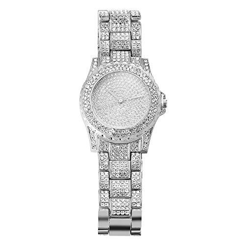 HALUKAKAH Reloj de Oro Hombres Iced out,Platino Plateado en Oro Blanco Pulsera de Cuarzo 8.7'(22cm),Cz Completo Diamante de Laboratorios,Gratis Caja de Regalo