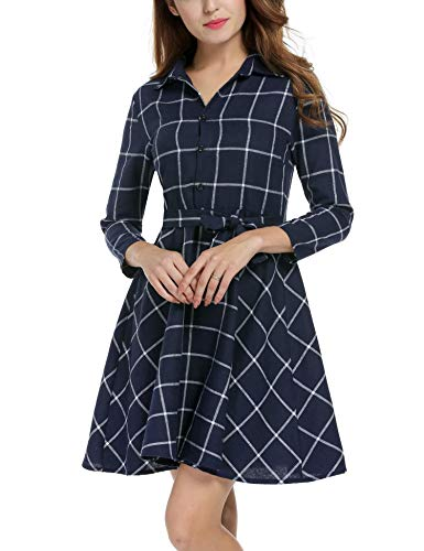 Zeagoo Women Lapel 3/4 Sleeve Plaid Belted Casual Swing Shirt Dress (Small, Navy Blue)