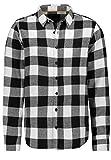 Eight2Nine - Camisa de cuadros para hombre con bolsillo en el pecho blanco S