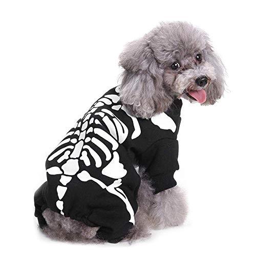 YZERTLH Halloween Kostüme Für Hunde Katzen Skelett Scary Kostüme Cosplay Halloween Party Kleidung,S
