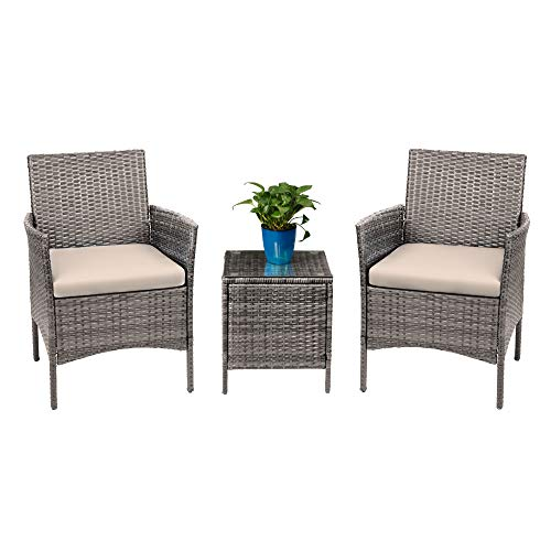 Devoko 3 Pieces Patio Furniture Sets Clearance PE Rattan Wicker Chairs with Table Outdoor Garden Porch Furniture Sets (Light Grey)