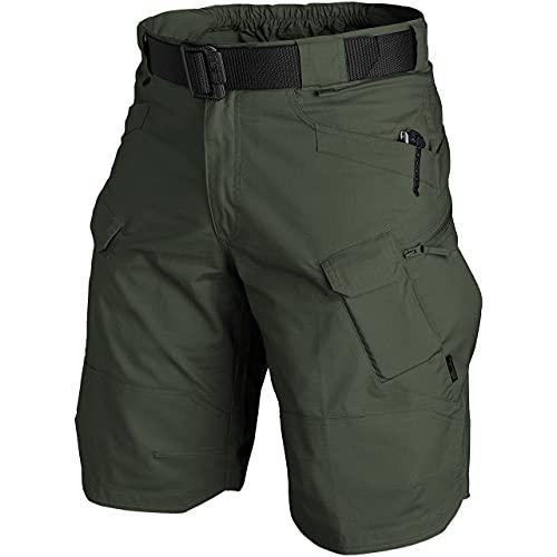 PrunGoo Cargo Shorts Hombres Impermeable Táctico Pantalones Cortos para Hombres Transpirable Senderismo Pantalones Cortos Hombres, M, forro polar verde con licencia oficial de star wars silent one crew.