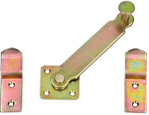 KOTARBAU® Schlagladenüberwurf 140 mm Fensterladen Doppeltorüberwurf Schlagladen Fensterladenriegel Schlagladen Überwurf Überwurfriegel Verzinkt Gelb