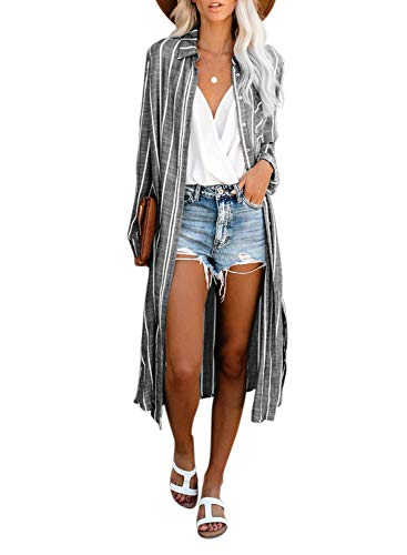 Dokotoo Womens Casual 2019 Stripes Autumn Stand Collar Button Down Open Front Long Sleeve Side Slit Cardigans Fashion Kimono Long Cardigans Dresses Outerwear Grey Small