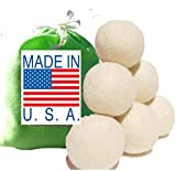 Eco-Friendly 100% Wool Dryer Balls, Free Gift Bag, 6 Pack Handmade in America, Premium USA Wool, XL, Natural, Unscented Organic Laundry (Bright Green)