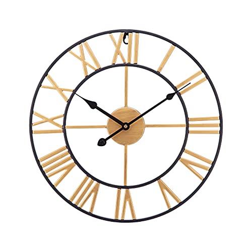 SUCHDECO Reloj de Pared Vintage Silencioso,Funciona con Pilas,Reloj Circular con Números Romanos de Metal Estilo 50 cm, Decoración moderna para Salón, Cocina, Oficina