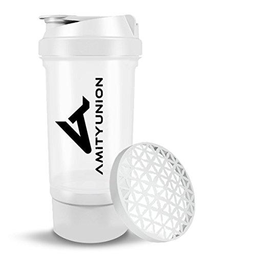 Eiweiß Shaker FYRA 700ml - BPA frei mit Container & Pulverfach, Protein Shaker mit Sieb und Skala für Whey und BCCA Shakes, Fitness Trinkflasche für Smoothie Isolate & Diät Sport Konzentrate in Weiß