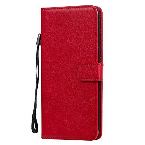 Hülle für LG V60 ThinQ 5G Hülle Handyhülle [Standfunktion] [Kartenfach] [Magnetverschluss] Tasche Etui Schutzhülle lederhülle klapphülle für LG V60 - JEKT052189 Rot