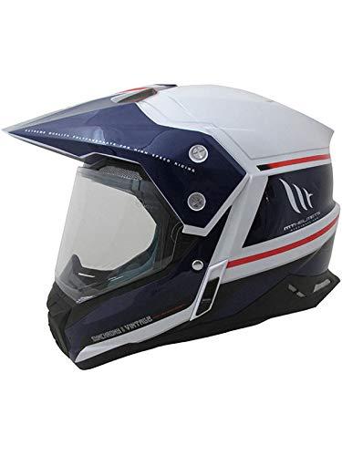 MT Casco Mx 2019 Synchrony Duosport Sv Vintage Blanco-Azul-Neon Rojo (