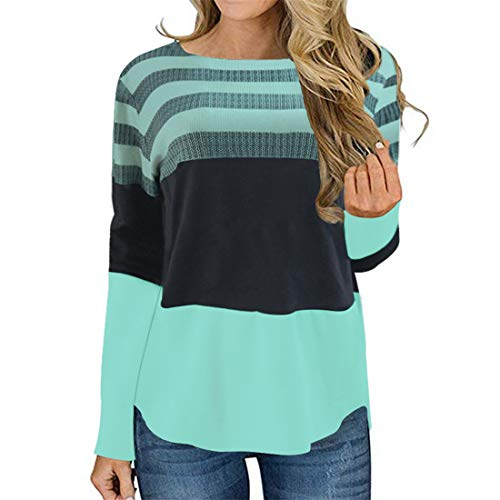 Shirt Damen Oberteile Damen Elegant Spleißen Streifen Rundhals Mode Langarmshirt Herbst Neues All-Match Sexy Lose Lässige Damen Langarm T-Shirt Trendige Damenbekleidung A-Green S
