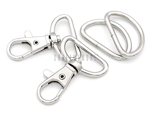 CRAFTMEMORE 1 Inch Swivel Trigger Snap Hooks Classic Lobster Clasps Purse Landyard Leather Craft with D Rings 10 Sets CSD1 (Silver)