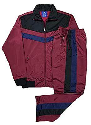 Men's rtGlad Activewear Track Pant and Track Jacket Sports Jogger Athletic Debut 90's Outfit Set (Mehroon, 3XL)