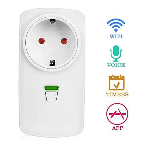 Enchufe Inteligente, Yokunat WiFi Zócalo Ilalámbrico Smart Plug Socket con Control Remoto Temporización y en Voz Compatible con Amazon Alexa Echo Google Home IFTTT para Android/IOS
