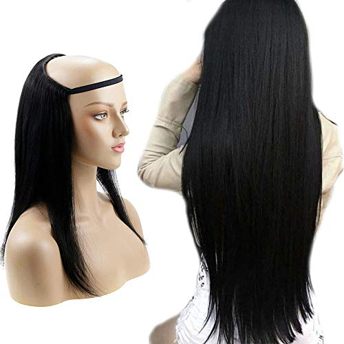 HalfWig 16 Inch Wig Clips Color 1 Jet Black 120g Remy Hair Extension 100% Human Hair U-Part Wig Human Hair Extension