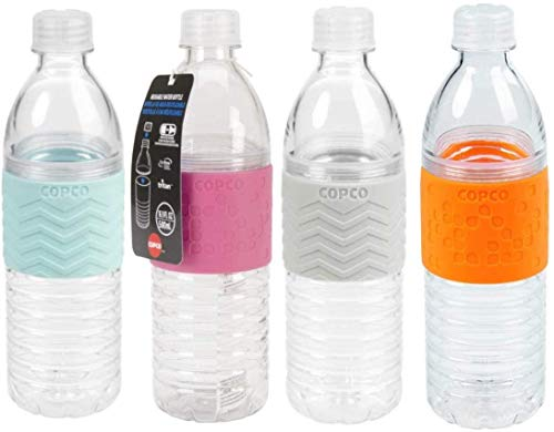 Copco Hydra Reusable Tritan Water Bottle with Spill Resistant Lid and Non-Slip Sleeve, 4 Pack (Blue, Pink, Gray, Orange, 16.9 oz)