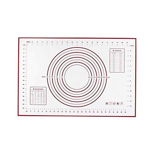 GJEFEGS - Tappetino da pasticceria in silicone XXL, 60 x 80 cm, con misure, approvato dalla FDA e senza BPA, informazioni di conversione incluse (rosso-XXL)