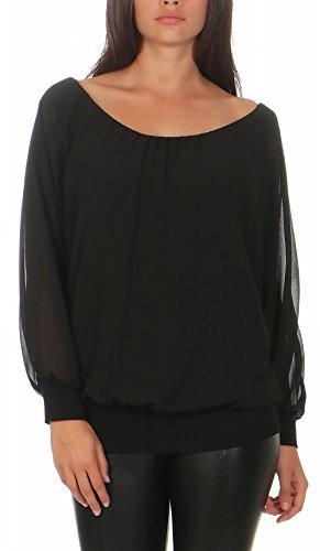 Malito Damen Chiffon Langarm Bluse | Tunika mit weiten Ärmeln | Blusenshirt mit breitem Bund | elegant - schick 6291 (schwarz)