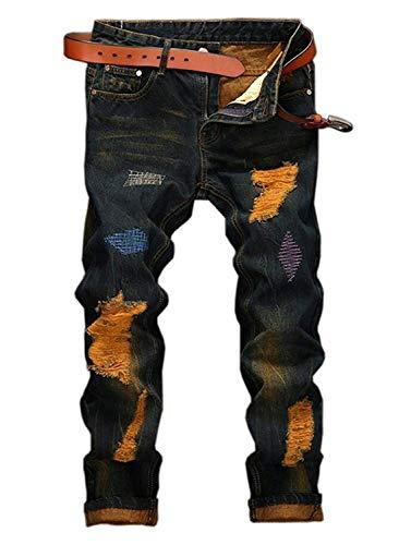 YTD Mens Distressed Ripped Biker Slim Jeans Stretched Moto Denim Pants (W36(Tag 38), A1 Gold)