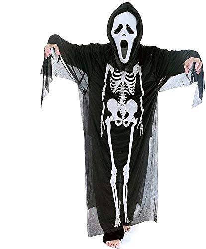 KIRALOVE Taglia Unica - Costume - Travestimenti Donna - Halloween - Carnevale - Scream - Mostro - Assassino - Colore Nero Tunica Maschera - Adulti - Uomo - Idea Regalo originalem l