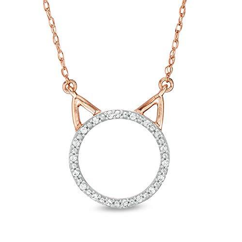 Collar con colgante de gato de 1/10 quilates, corte redondo, D/VVS1, cadena de 45,72 cm, en plata de ley 925 chapada en oro rosa de 10 quilates