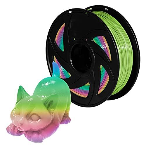 PLA Filament 3D Printer Filament 1.75mm 1kg Rainbow PLA Colour Changing Multicolor Filament 1kg(2.2lbs) Spool Pack of 1 XVICO