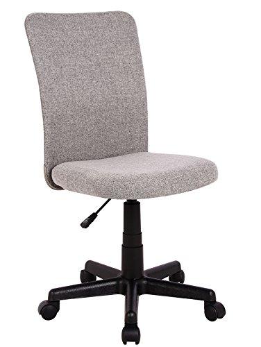 SixBros. Bürostuhl,Schreibtischstuhl zum Drehen, Drehstuhl für\'s Büro oder Home-Office, stufenlos höhenverstellbar, Chefsessel aus Stoff, grau, H-2578/2493